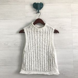 Moth White Chunky Open Knit Sweater Vest